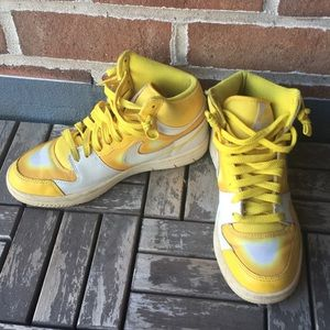Yellow Nike High Top Dunk Sneakers